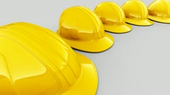 Safety Helmets construction protection industry worker headgear mine manufacture - stock footage