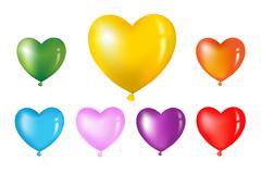 colorful heart shape balloons - stock illustration
