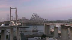Carquinez bridge at sunset Stock Footage