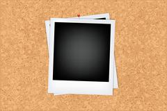 cork board with photo - stock illustration