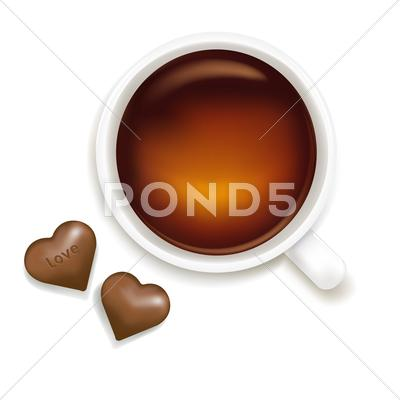 Stock Illustration of cup of tea with chocolate