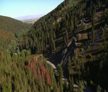 Aerial shot of forested canyon with highway Stock Footage
