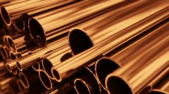 Copper conductor construction electricity metallic billet expensive industrial Stock Footage