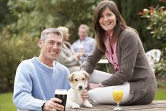 Couple with pet dog outdoors enjoying drink in pub garden Stock Photos