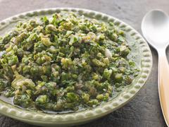 Dish of Salsa Verde Stock Photos