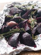 Roasted Beetroot with Herbs Garlic and Balsamic Vinegar - stock photo