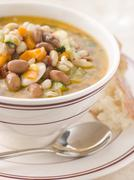 Tuscan Bean Soup with Crusty Bread Stock Photos