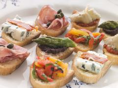 Plated Selection of Crostini Stock Photos