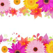 flower background with gerber and leafs - stock illustration