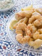 Dish of Fritto Misto di mare with Herb Dressing Stock Photos