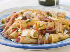 Rigatoni Pasta with a Tomato and Pancetta Sauce - stock photo