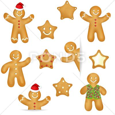 Stock Illustration of gingerbread cookies set