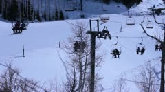 Chair lifts at he ski resort. Stock Footage