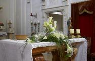 Stock Photo of altar church decorated flowers sacral building