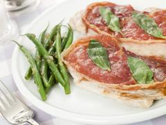 Escalope of Veal Saltimbocca with Green Beans Stock Photos