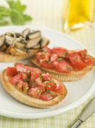 Plate of Vegetarian Bruschetta Stock Photos