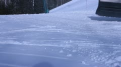 Close up of snow cat tracks Stock Footage