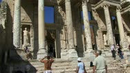 Ancient building and tourists in Ephesus Stock Footage