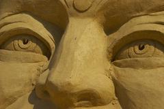 Design frame face buddha sand close sculpture up Stock Photos
