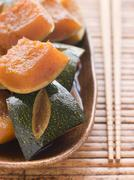 Sweet Soy simmered Pumpkin Stock Photos