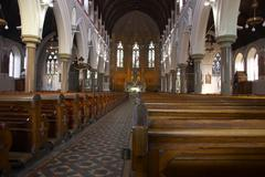 church interior view sacral building society - stock photo