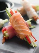 Sashimi and Vegetable Rolls with Soy Sauce Stock Photos