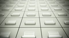 File Cabinet storage boxes Organization documents and data paperwork bureaucracy - stock footage