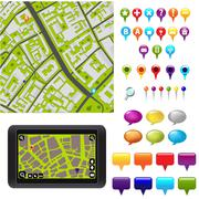 gps icons and map - stock illustration
