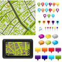 Stock Illustration of gps icons and map