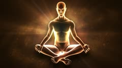 Meditating enlightenment - chakra symbols - stock footage