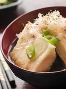Crisp Fried Tofu in Miso with Bonito Flakes and Pickles Stock Photos