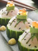 Sashimi Of Sea bass with Avocado and Salmon Roe Stock Photos
