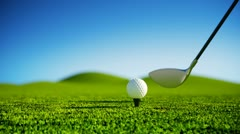 Golf sport. Ball on grass club hit shot recreation leisure outdoor activity. Stock Footage