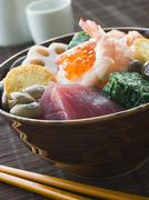 Sushi Rice Bowl with Tuna Salmon Prawn Tofu and Vegetables Stock Photos