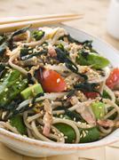 Green Tea and Soba Noodle Salad with Wakame Seaweed Stock Photos