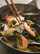 Japanese Seafood and Wakame Seaweed Curry Stock Photos