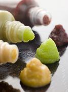 Three Japanese Sauces-Wasabi Mustard and Plum Stock Photos