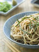 Bowl of Chilled Soba Noodles with Wasabi - stock photo
