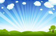 Green field and blue sky Stock Illustration