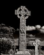Black white cemetery high cross celts death Stock Photos