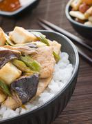 Chicken and Mushroom Donburi with Fried Tofu Stock Photos