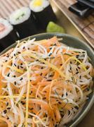 Daikon and Carrot Salad with Sesame Sushi and Wasabi Stock Photos