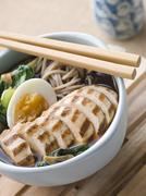 Chargrilled Chicken Soba Noodle and Miso Soup Stock Photos
