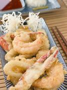 Tempura of Seafood with chili Sauce and Mouli Stock Photos
