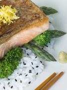 Citrus Salmon Fillet on Rice Steamed Vegetables with Sesame and Wasabi Stock Photos