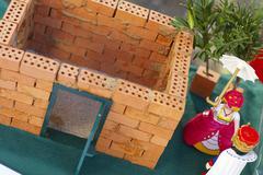 Brick build house wedding symbol for building Stock Photos