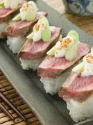 Beef Nigri with Horseradish and Wasabi Cream Stock Photos