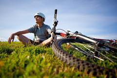 Mountain biker. Stock Photos