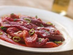 Marinated Roasted Capsicum with Garlic and Chili Stock Photos