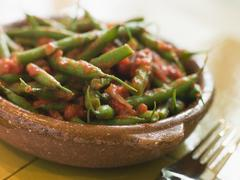 Green Beans with a Tomato Salsa Stock Photos